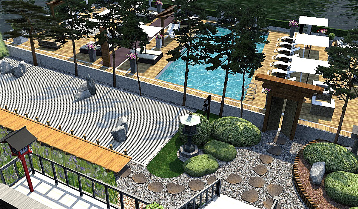 Floating swimming pool hampton court swimming pool for Pool design hamptons